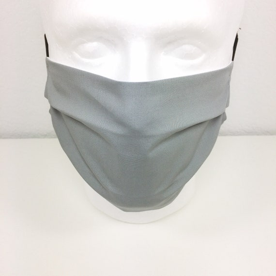 Solid Light Gray Face Mask - Adult / Tween / Teen  Adjustable Fabric Face Mask with Pocket for Filter