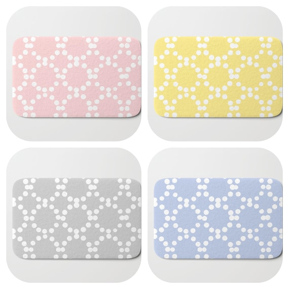 Bath Mat - Blush Pink Bath Mat - Gray Bath Mat - Bath Rug - Yellow Shower Mat - Ring dot Rug - Periwinkle Blue Rug - Circle Rug - bath Rug