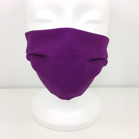 Solid Purple Child Face Mask - Adjustable Fabric Face Mask
