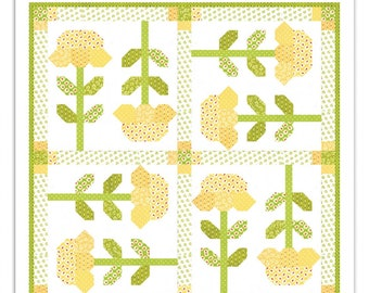 Mini Buttercups quilt pattern by Fig Tree and Co - Flowers min quilt