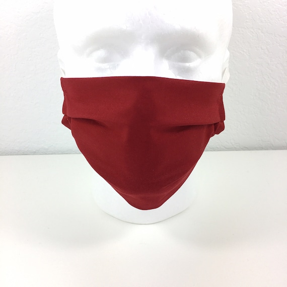 Deep Solid Red Face Mask - Adult Adjustable Fabric Face Mask with Pocket for Filter