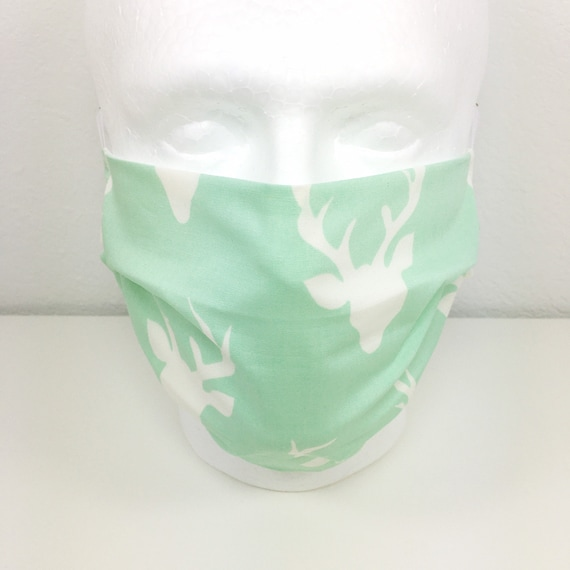 Mint Deer Extra Large Face Mask - XL Adult Adjustable Fabric Face Mask with Pocket for Filter