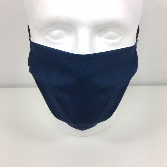Extra Large Solid Navy Blue Face Mask - XL Adult Adjustable Fabric Face Mask with Pocket for Filter - Washable and Reusable