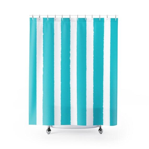 Aquamarine Shower Curtain . Aqua Stripe Shower Curtain