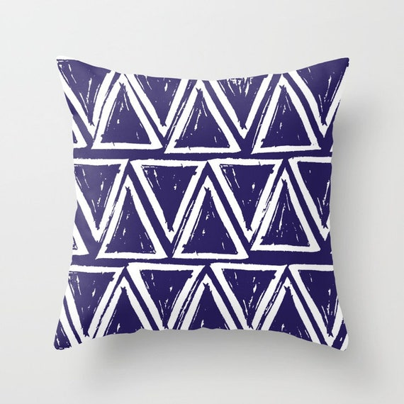 OUTDOOR Throw Pillow . Indigo Outdoor Pillow . Indigo blue patio cushion . Modern Geometric Pillow Triangle . 16 18 20 inch . Lumbar pillow