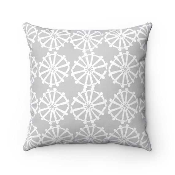 OUTDOOR Throw Pillow . Silver Gray Outdoor Pillow . Grey patio cushion . Modern Geometric Pillow Wheel . 16 18 20 inch . Lumbar Pillow
