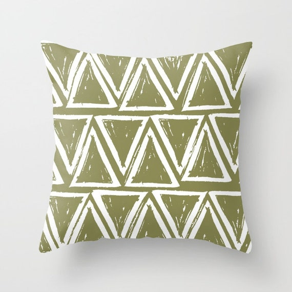 OUTDOOR Throw Pillow . Olive Outdoor Pillow . Olive Green patio cushion . Modern Geometric Pillow Triangle . 16 18 20 inch . Lumbar Pillow