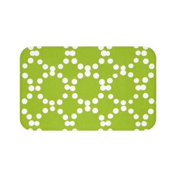 Lime Green Bath Mat . Lime and White Bath Mat  . Ring Dot Bathroom Rug . Green Shower Mat