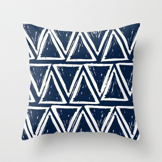 OUTDOOR Throw Pillow . Navy blue Outdoor Pillow . Navy patio cushion . Modern Geometric Pillow Triangle . 16 18 20 inch . Lumbar Pillow