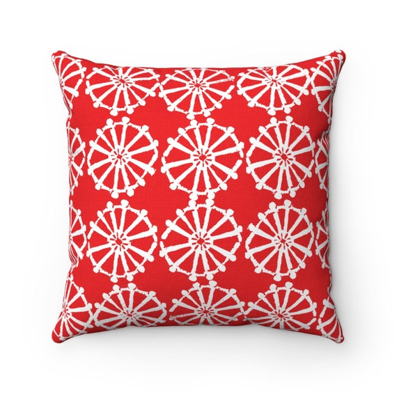 OUTDOOR Throw Pillow . Red Outdoor Pillow . Ruby Red patio cushion . Modern Geometric Pillow Wheel . 16 18 20 inch . Lumbar Pillow