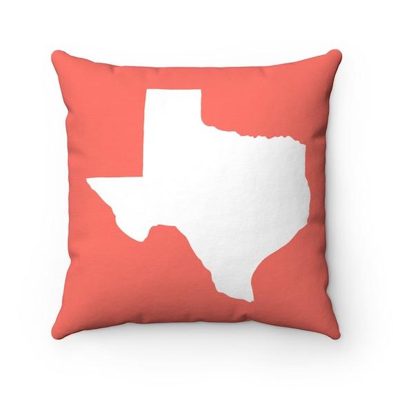 Texas Throw Pillow . Coral Texas Pillow . Texas State Lumbar Pillow