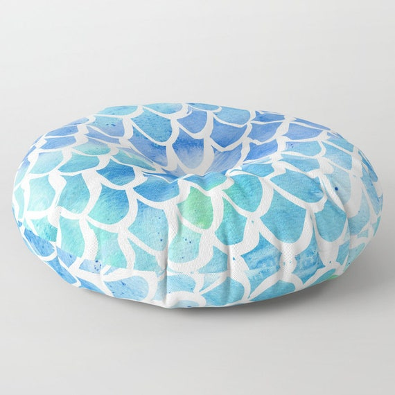 Mermaid floor cushion . Blue cushion . Mermaid Pillow . Round pillow . Floor pillow . Watercolor pillow . 26 inch pillow . 30 inch ottoman