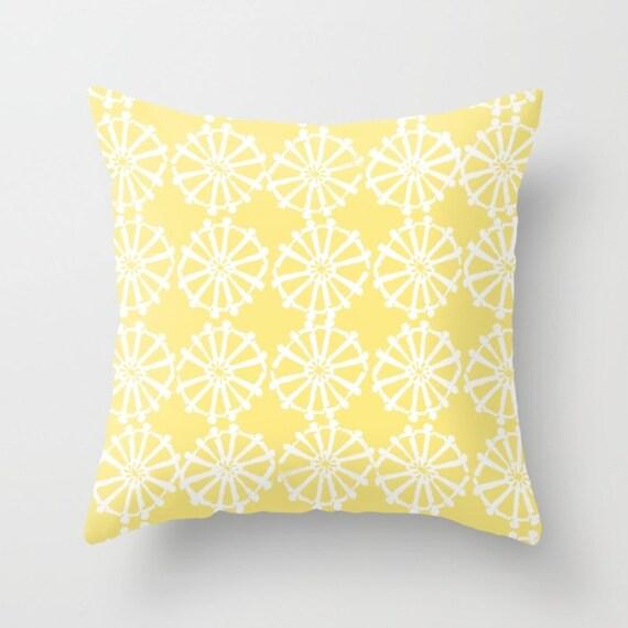OUTDOOR Throw Pillow . Buttercup Yellow Outdoor Pillow . Yellow patio cushion . Modern Geometric Pillow Wheel  16 18 20 inch . Lumbar Pillow