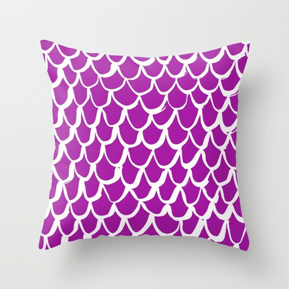 OUTDOOR Throw Pillow . Mermaid Outdoor Pillow . Purple patio cushion . 16 18 20 inch . Purple Mermaid Outside Pillow . Purple Lumbar Pillow