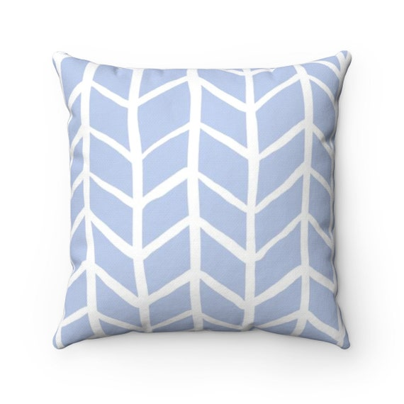 OUTDOOR Throw Pillow . Periwinkle Blue Outdoor Pillow . Periwinkle Herringbone Patio Cushion