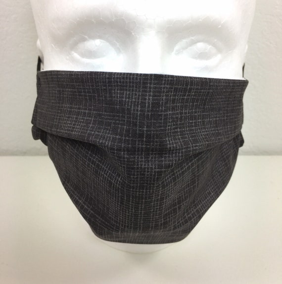 Extra Large Grid Gray Face Mask - XL Adult Adjustable Fabric Face Mask with Pocket for Filter - Washable and Reusable