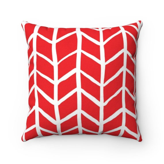 OUTDOOR Throw Pillow . Red Outdoor Pillow . Red Herringbone Patio Cushion