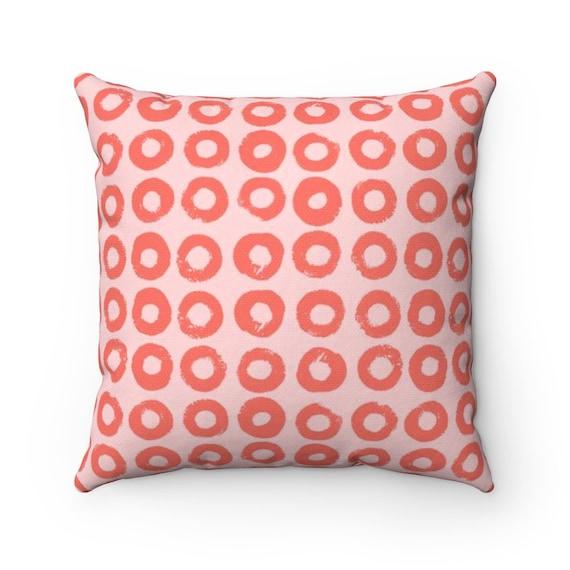 Blush and Coral Throw Pillow . Blush Pillow . Modern Cushion . Coral Lumbar Pillow . Blush Pink Circle Print Pillow . 14 16 18 20 26 inch