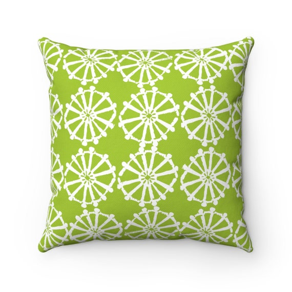 OUTDOOR Throw Pillow . Lime Green Outdoor Pillow . Lime patio cushion . Modern Geometric Pillow . Lime Wheel . 16 18 20 inch . Lumbar Pillow