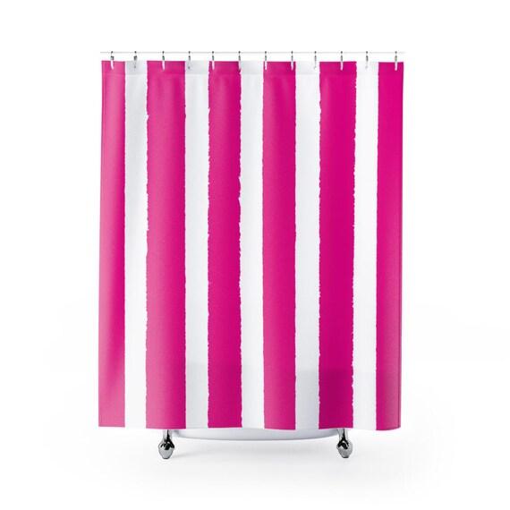 Magenta Shower Curtain . Pink Striped Shower Curtain