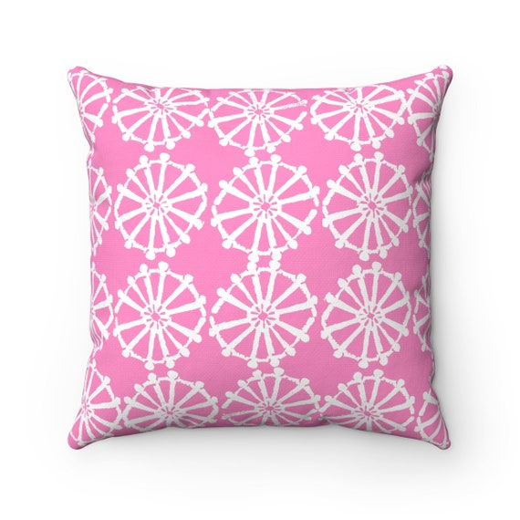 OUTDOOR Throw Pillow . Pink Outdoor Pillow . Pink patio cushion . Pink Pillow . Modern Geometric Pillow Wheel  16 18 20 inch . Lumbar Pillow