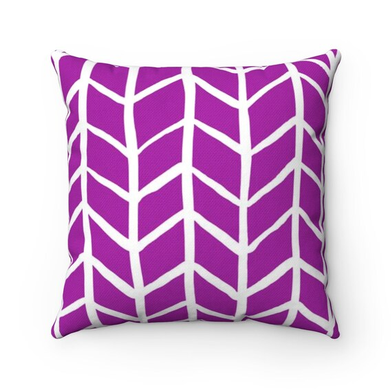 OUTDOOR Throw Pillow . Purple Outdoor Pillow . Violet Herringbone Patio Cushion