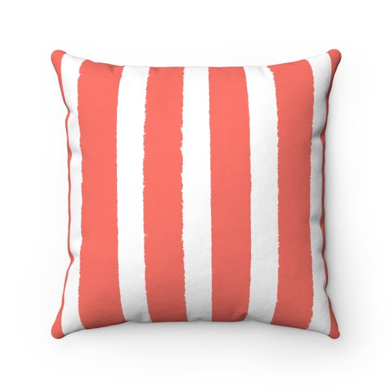 Coral and White Striped Throw Pillow . Coral Cushion . Coral Pillow . Coral striped Pillow . Salmon Cushion 14 16 18 20 26 inch . Lumbar