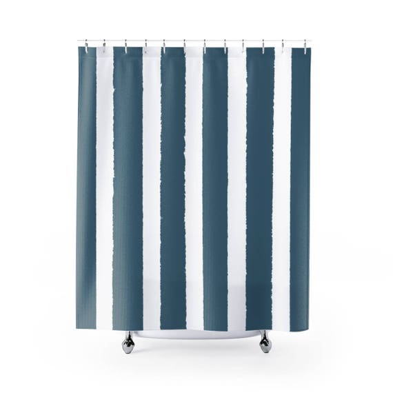 Teal Shower Curtain . Teal Striped Shower Curtain
