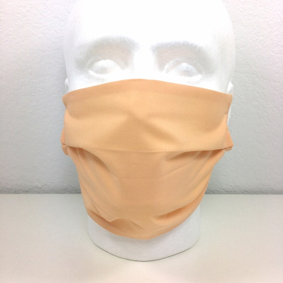 Extra Large Peach Face Mask - XL Adult Adjustable Fabric Face Mask with Pocket for Filter
