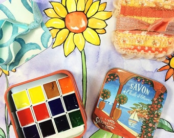 French Riviera Watercolor Paint Gift Set . Sennelier Watercolors in Decorative Tin . Artist Gift . Travel Watercolor Set . Non Toxic