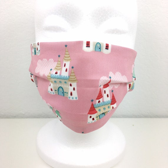 Child Pink Castle Face Mask - Adjustable Fabric Face Mask - Girl Face Mask - Washable and Reusable