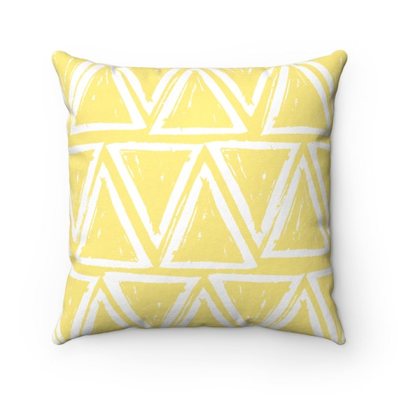 OUTDOOR Throw Pillow . Butter Yellow Outdoor Pillow . Yellow patio cushion . Modern Geometric Pillow Triangle . 16 18 20 inch . Lumbar