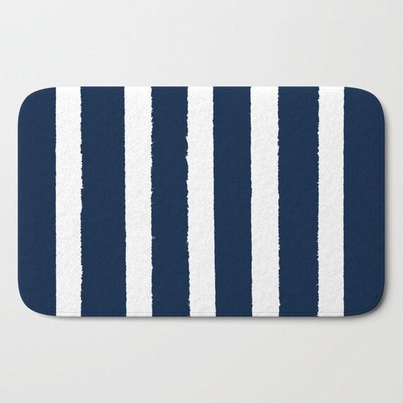 Bath Mat . Navy Bath Mat . Striped Bath Mat . Navy blue Bath Rug . Navy Shower Mat . Blue Rug . Navy Striped Rug . Navy and White Stripe Rug
