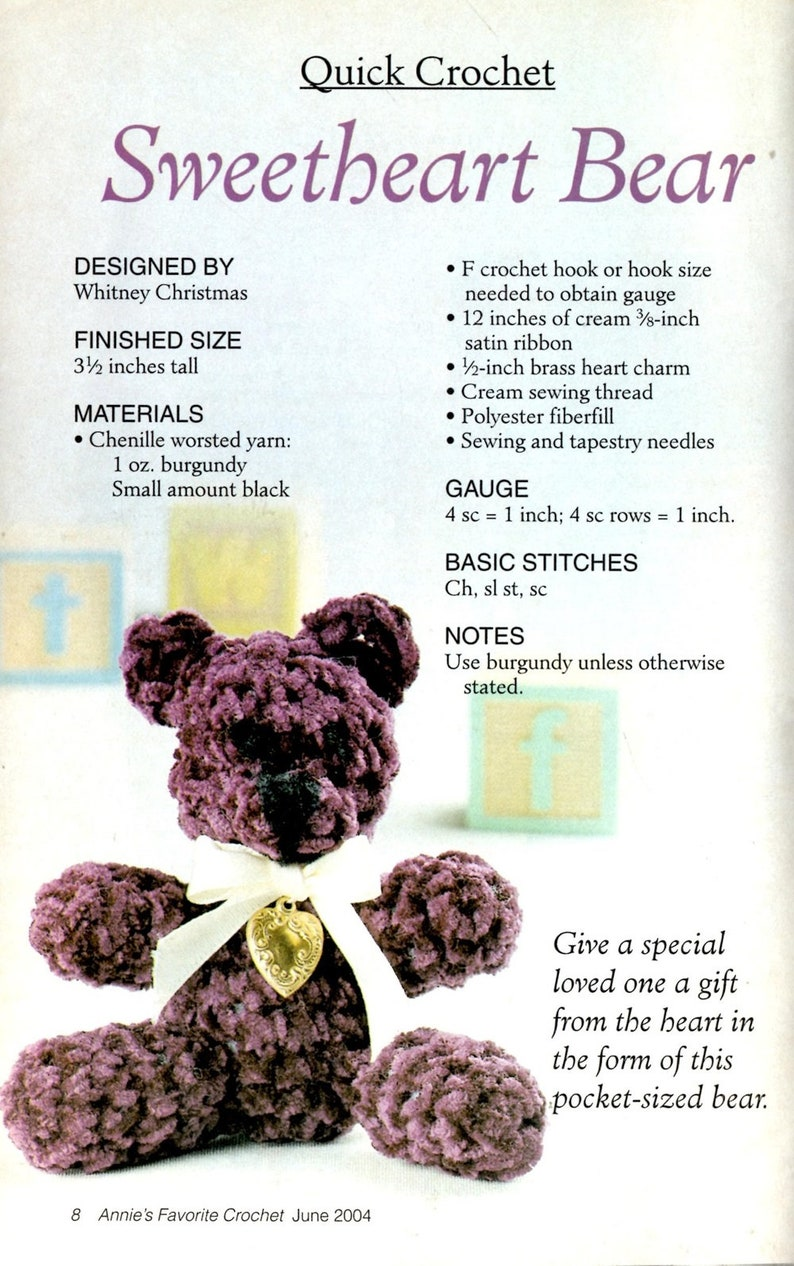 Annie's Favorite Crochet 129 Fuzzy Teddy Bear Star Scallop Doily Baby  Bonnet and Booties Afghan Stitch Directions Magazine June 2004