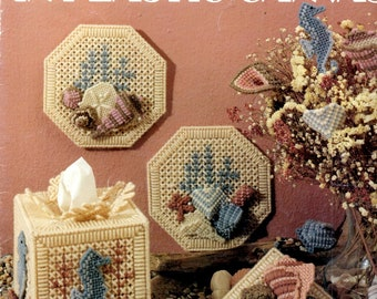 Seashore In Plastic Canvas Needlepoint Sea Shells Sea Horses Tissue Box Cover Bouquet Box Embroidery Craft Pattern Leaflet Leisure Arts 1180