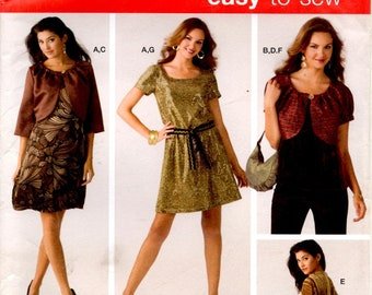 Misses Dress Top Jacket in Two Lengths Shrug Belt and Bag Adult Woman Sizes 14 16 18 20 22 Uncut Craft Sewing Pattern Simplicity 3533