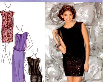 Misses Petite Dress 3 Lengths Slim Fit Sleeveless Bunched Waist Adult Woman Sizes 14 16 18 20 22 Uncut Craft Sewing Pattern Simplicity 1658