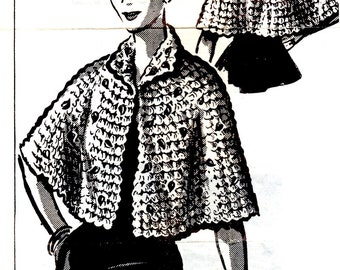 Cape Stole Crocheted Worsted Weight Yarn Shell and Gold Leaves Adult Woman Size Small Medium Large Craft Pattern Sheet 153