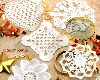 Dozen Tiny Doilies in Thread Crochet Heart Square Filet Round Flowers Pineapple Shells Spider Web Craft Pattern Leaflet 1152 by Rita Weiss