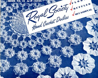 Doilies Royal Society Crochet Lace Floral Ruffled Rose Leaf Circles Double Round Ruffle Pineapples Daisy Ring Stars Craft Pattern Leaflet 12