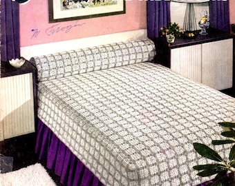 Bedspreads and Tablecloths Crochet Thread Lace Diamonds Colored Circles Hexagons Daisy Motifs Wheat Craft Pattern Leaflet 301
