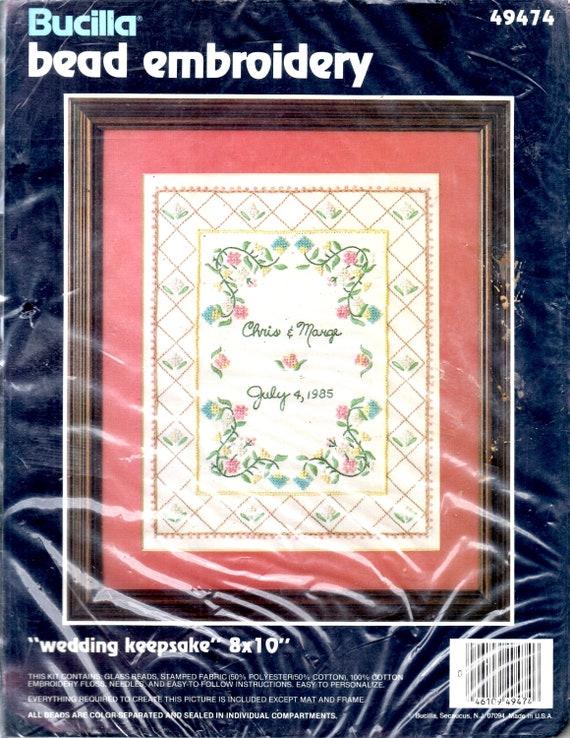 Wedding Keepsake Kit Flowers Vines Diamond Border Names Date Etsy