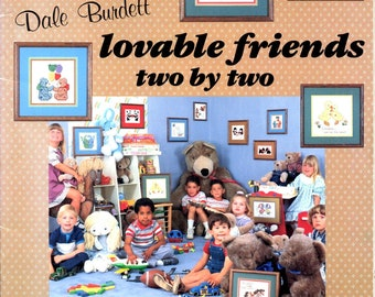 Lovable Friends Two By Two Rabbits Teddy Bears Pandas Scotty Dogs Mice Squirrels Penguins Counted Cross Stitch Craft Pattern Leaflet DB-58
