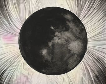 Solar Eclipse 6 x 6 giclee print reproduction MADE TO ORDER