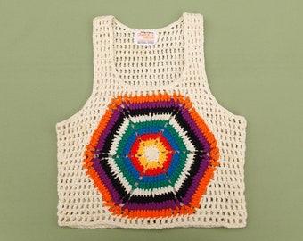 Vintage Crocheted Vest, Woman's, 1970's, Granny Square, Rib Tickler, Sunburst, 70's Style, Fashion, Brady Bunch, Size Small, Charlie's Girls