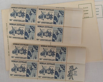 Woman's Suffrage 50th Anniversary Postage Stamps, Eight Unused Stamps, 2 Blocks, 6 Cent Stamps, Blue, Vintage, 1970's, Free US Shipping