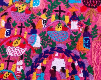 Michacan Fabric, Embroidery, Story Cloth, Night of the Dead, Bordados Mexicanos, Handicraft, Bright, Colorful, Pink, Vintage, Tarascan