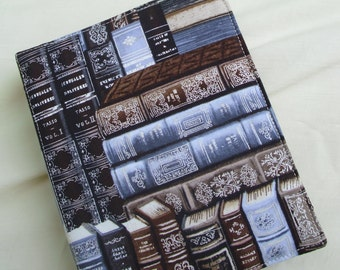 Silver and Brown Books on Fabric E Reader Cover