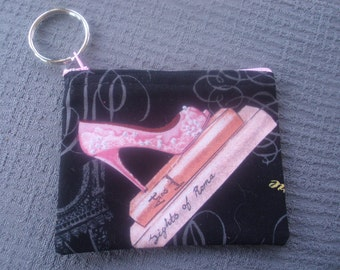 Pink and Black Change Purse