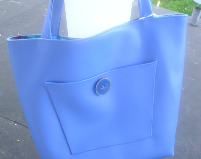 Lovely Blue Vegan Leather Bag